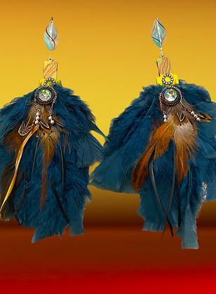 Fluffy Brown Blue Blend Fashion Stystyle Feather Earrings