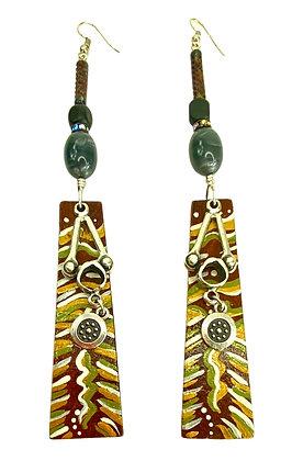 Green Olive Tree wooden Earrings