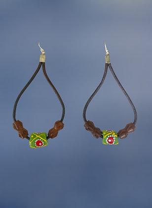 Green Dancing Tribal Earrings