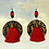 Thumbnail: Red Fringe Wood Print Fashion Earrings
