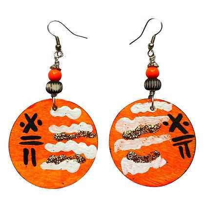 Orange Art Splash Dangle Wood Earrings