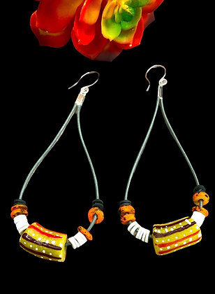 African Bead Leather Cord Earrings
