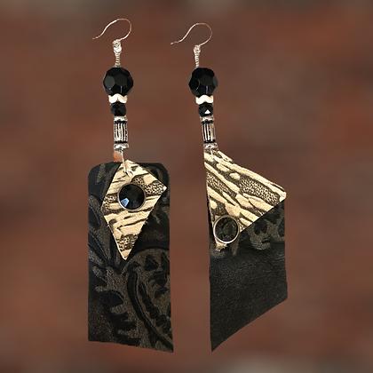Print Up Down Leather Rhinestone Fashion Earrings