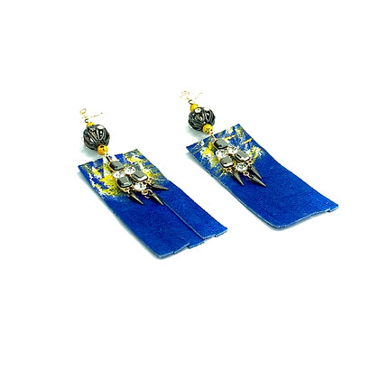 Royalty blue dangle chic suede earrings
