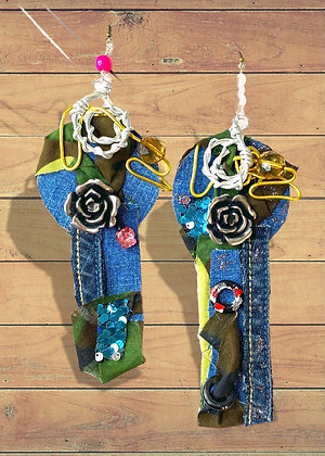 Raft Camouflage Abstract Art Earrings