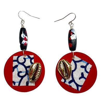 Tribal Gold Shell Fabric Top Wood Earrings