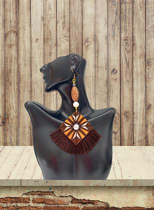 Fluff  Spread Dangle Brown Brass Beaded Earrings
