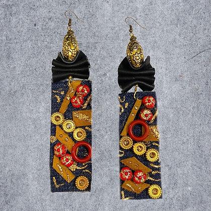 Flip The Script Denim Style Boho Fashion Earrings