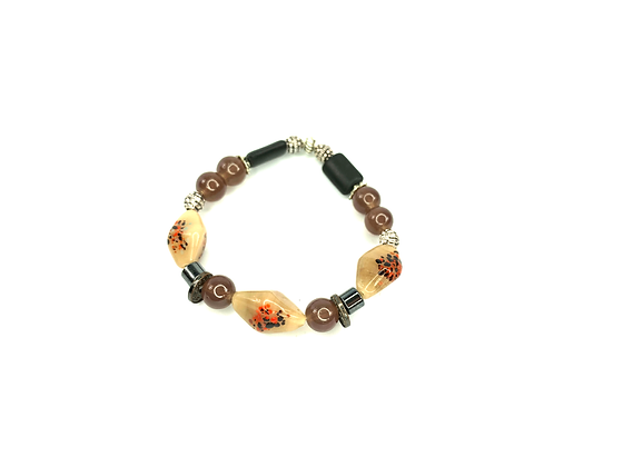 Brown beige black speckled funky boho bracelet