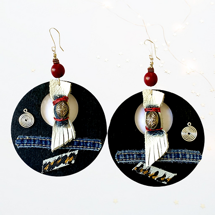 Sexy Statement Wood Denim Cherry Beaded Leather Earrings