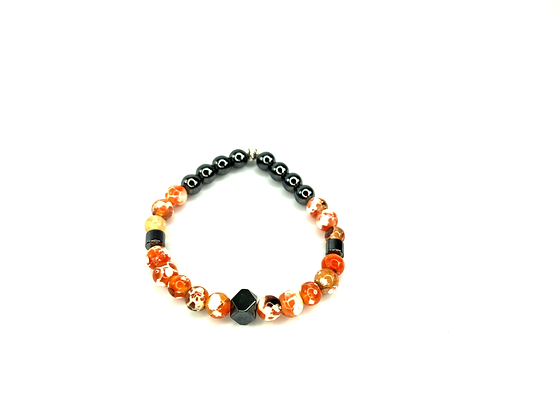 Charcoal  and agate gemstone beaded classy  wrist ready style bracelet