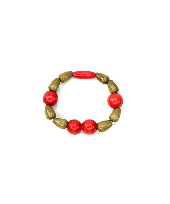 Luck charm tear drop wood  beaded bracelet