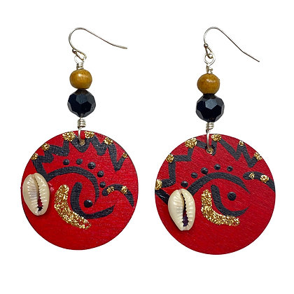 Boho Red and Black Cowrie Shell Jeweled Earrings