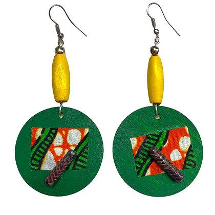 Top Sassy Fruity Yellow Beaded Wood Dangle Earrings