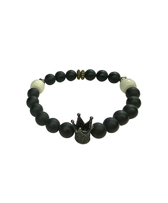White black bronze crown soldier style bracelet