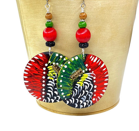 Happy Boho Red Beaded Earrings