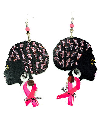 Ms. Cancer Can't Break Me Handmade Wooden Earrings