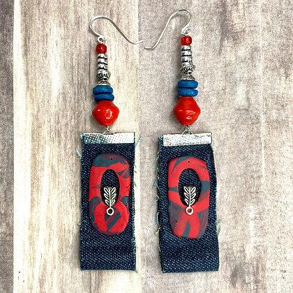 Red Love Denim Earrings