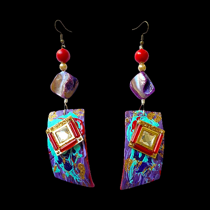 Beauty Glass Top Polymer Statement Earrings