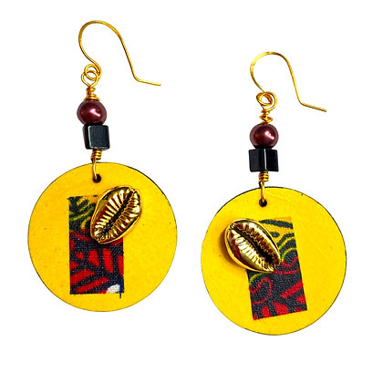 Yellow cloth and Cowrie  Shell Dangle Beaded Earrings