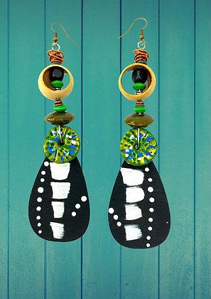 Tribal Lean Green Wooden Earrings