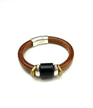 Regaliz thick brown gauge leather bead slide bracelet