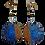 Thumbnail: Jeweled Glitter Blue Gold Dangle Art Earrings