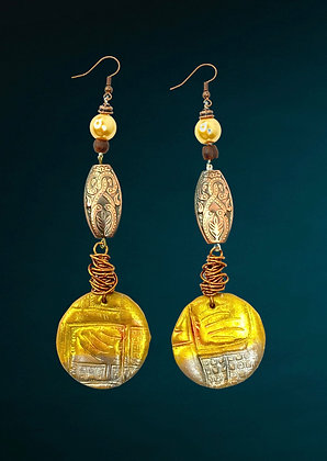 Copper Golden Wired Coin Earrings