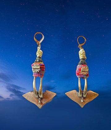 Iron Torpedo Barrel Beaded Earrings