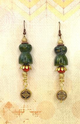 Genuin Green Avertine Jeweled Earrings