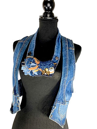 Flower dome magic leather denim draped bold necklace