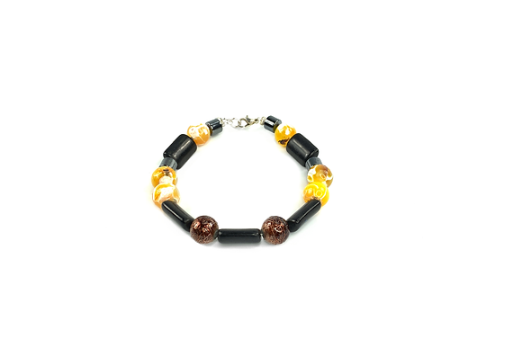 Yellow bee sea agate bracelet