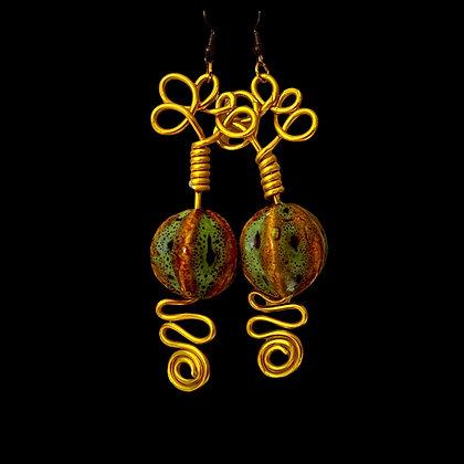 Wire Loop Dangle Gold Green Fashion Earrings