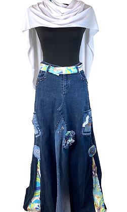 Classic Fall Talk Blue Denim Skirt