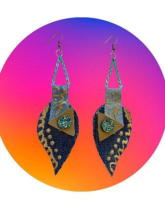 Money Leaf Denim Earrings