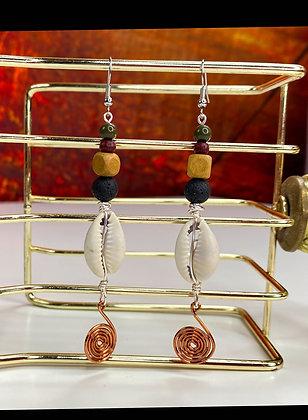 Black Lava Copper Beaded Earrings