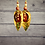 Thumbnail: Pattern Print Leather Fashion Style Dangle Earrings