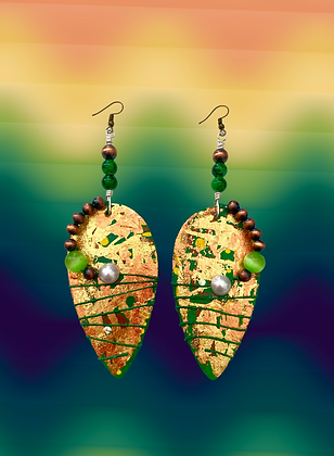 Foiled Flash Brass Cord Wrapped Beaded Earrings