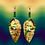 Thumbnail: Foiled Flash Brass Cord Wrapped Beaded Earrings