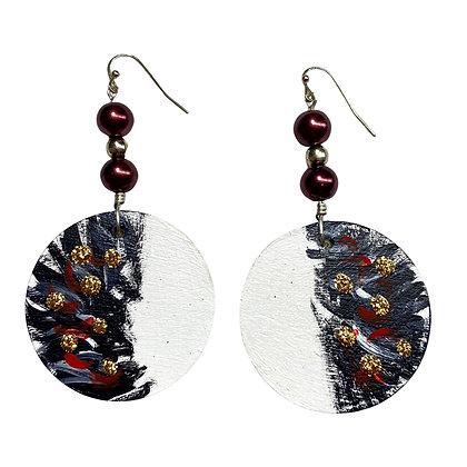 Handmade Tux Jewel Wood Berry Earrings