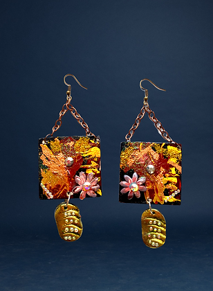Hand Painted Colored Garden Fashion Earrings