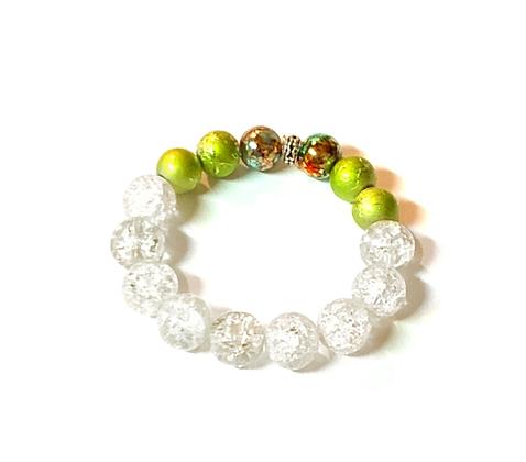 Clear water green line mixed boho style fashion slip on bracelet
