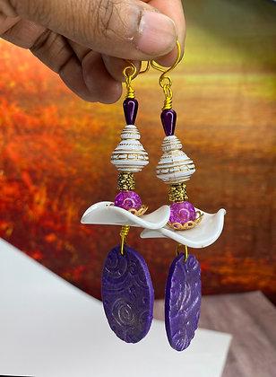 Purple Polymer Toppled Earrings