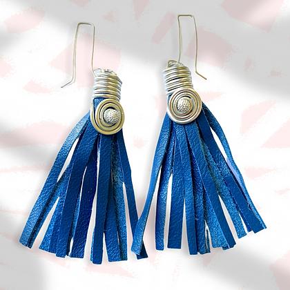 Square Hook Blue Leather Fashion Fringe Earrings