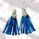 Thumbnail: Square Hook Blue Leather Fashion Fringe Earrings