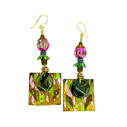 Lavishly Laid Wooden Stoned Earrings