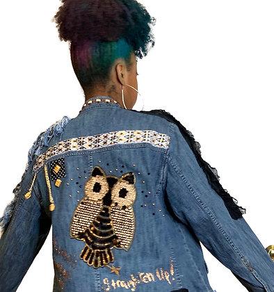 Fringe 2 Sided Owl Denim Jacket