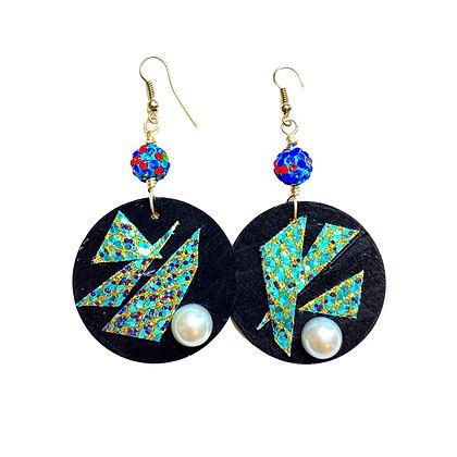 Shimmer Beaded Pearl Dangle Earrings