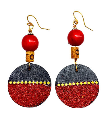 Cherry and Black Jeweled Wood Earrings