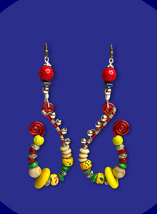 Happy Stylish Red Coiled Wrapped  Fashion Earrings